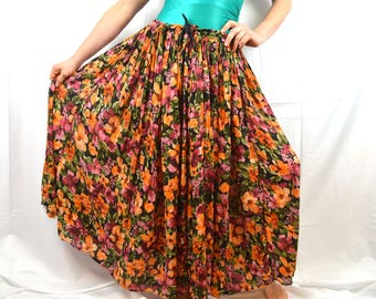 Vintage Floral Grunge 80s 90s Hippie Broom Skirt