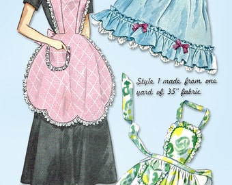 1940s Vintage Simplicity Sewing Pattern 2644 Misses Easy One Yard Apron Fits All