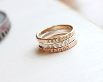 Stacking Name Rings, undarkened mixed metal, Personalized Hand Stamped Jewelry, Skinny Name Ring, Thin stacking rings, name jewelry