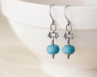 Petite Lampwork Earrings, Light blue earrings, short and dainty sterling silver dangle earrings, blue polka dot earrings,