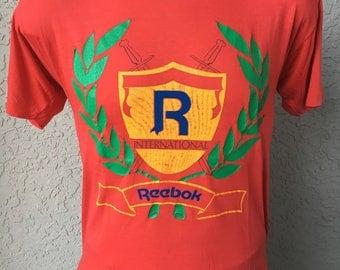 Reebok 1980s vintage tee shirt - red size medium