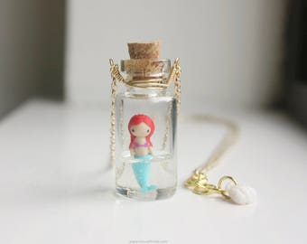Gold Mermaid Necklace - mini glass bottle pendant, under the sea, tiny figurine, little mermaid jewelry, mermaid life