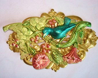 Bird Flower Garden  Brooch Multi Tone