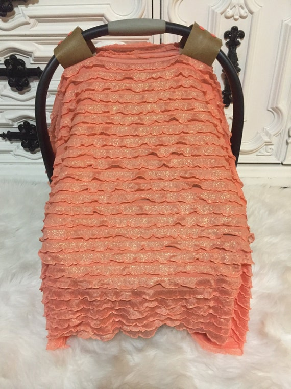 Leather N Lace Line  , Car seat canopy , Car seat cover , Car seat tent , RTS , ooak , sheer ruffle fabric