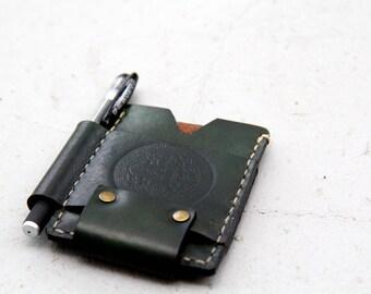 """Leather Wallet CardHolder - """"Green Tea"""""""