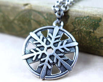 Snowflake Pendant, Silver Snowflake Necklace, Snow Flake Jewelry, Antiqued Silver Pendant, Winter Jewelry