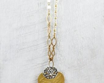 Heart Pendant Necklace, Large Vintage Heart,  Rhinestone Necklace, Long Heart Necklace, I Love You Heart