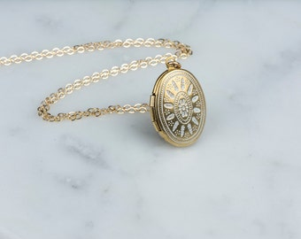 Simple Small Necklace with White Ornate Locket, Wedding Long White Oval Pendant, Short Necklace Delicate Locket Gold Chain, Simple Fashion