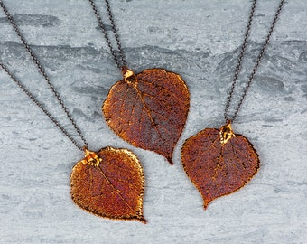 Long Copper Leaf Necklace, Aspen Leaf Pendant Leaves, Pendant Heart Necklace, Organic Leaf Necklace, Autumn Orange Jewelry Gift for Mothers