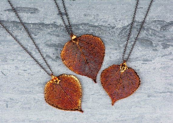 Long Copper Leaf Necklace, Aspen Leaf Pendant Leaves, Pendant Heart Necklace, Organic Leaf Necklace, Autumn Orange Jewelry Gift for Mothers