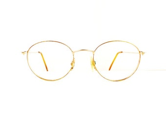 90s Off Round Eyeglasses Unisex Vintage 1990's Matte Gold Frames #M604 DIVINE