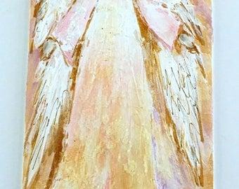 Neutral colors creams whites pink Nursery wall decor Guardian Angels Angel Art Angel Catholic Art Christian Jewish baby shower gift girl