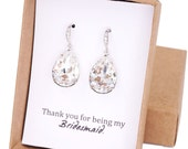 Carrie - Swarovski Crystal Teardrop Earrings, Bridesmaid Earrings, Bridal Jewelry, Wedding Jewelry, Silver Brides Earrings, Cubic Zirconia