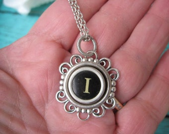 Antique Typewriter Key Necklace Initial I