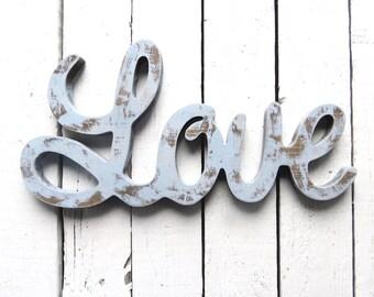 Love Sign, Wood Sign, Blue Decor, Romantic Gift, Wedding Gift, Shabby Decor, Cottage Decor, Farmhouse Decor, Rustic Blue Sign, Wall Decor