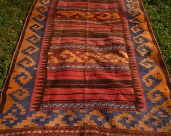 Big Flatweave Carpet Kilim Runner Hand woven, tough wool. Tapis 10 ft x 5 ft  305 x 152 cm
