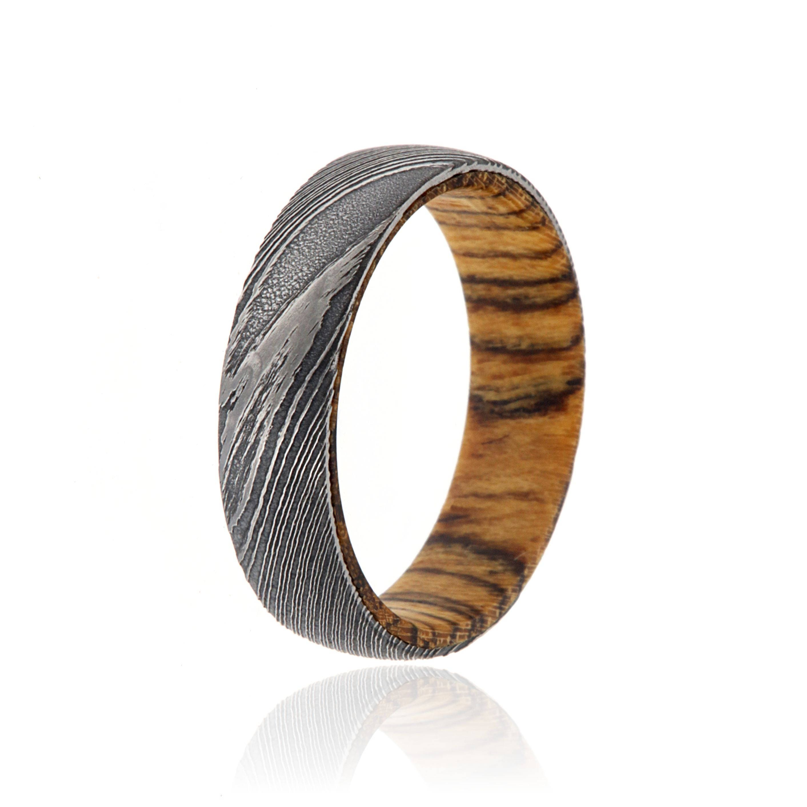 6mm Wide Damascus Steel Wedding Band Wedding Rings with a