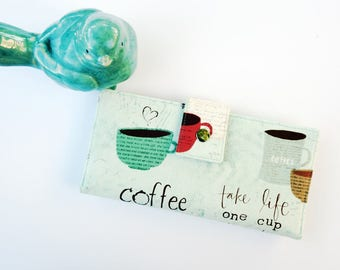 Coffee Wallet, Women's Wallet Clutch, Coffee lover gift, Women's wallet, Mom Birthday Gift, Birthday Gift Ideas, Mom Gift