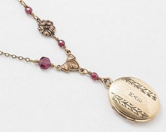 Antique Edwardian Locket, Locket Necklace, Gold Filled Locket with Flower Charm & Genuine Garnet, Leaf Etched Vintage Oval Photo Locket Gift