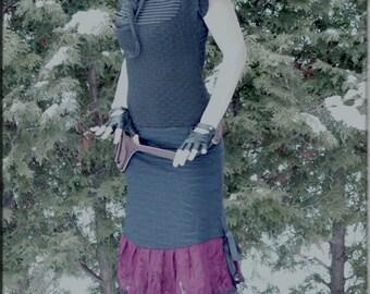 Top - Steampunk - Burning Man - Tunic - Playa Wear - Black and Pin Strip - Short Sleeve - Bohemian Gypsy - Sexy - Black Top - Size Medium