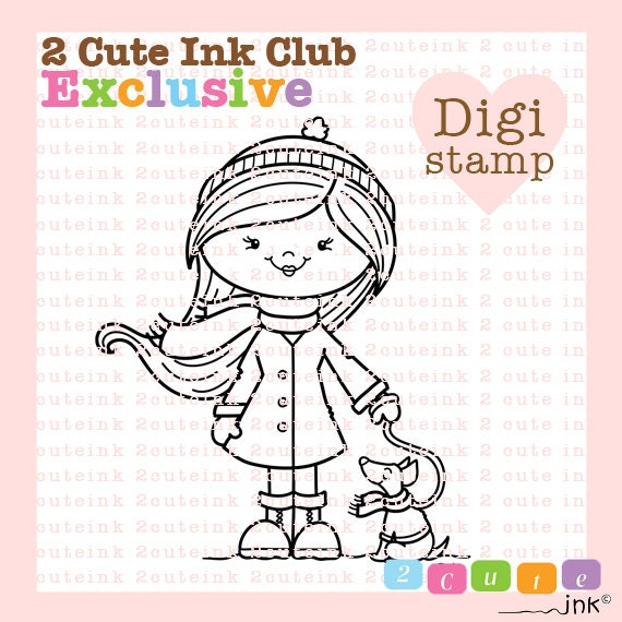 RESERVED for Club Members ONLY  - Penny and Her Pup Digital Stamp