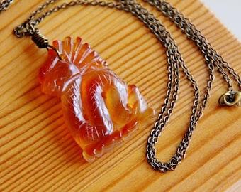 Jade pendant necklace, dragon necklace, orange pendant, carved stone pendant, natural stone necklace, long hippie necklace, gemstone pendant