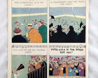 Vintage 1947 Pepsi Cola Advertisement. Pepsi Comic Strip Ad. 1940s. Football Ad. Retro Ephemera Soda Ad. Back: Phillip Morris Cigarette Ad