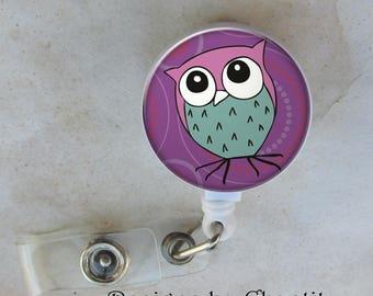 Wise Owl Badge Reel Retractable ID Belt Clip Purple