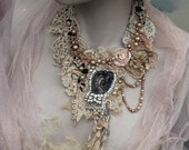 Victorian fantasy,  necklace, delicate  shabby chic embroidered  statement necklace