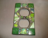 Mosaic Electrical Outlet Cover, Wall Plate, Wall Art, Green, Art Glass and Stained glass Chips