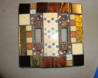 MOSAIC LIGHT SWITCH Cover - Wall Plate, Polka Dot, Bronze, Black, Gold, Brown