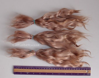 Brown soft cacoa Doll Hair extra long 9-11 in Combed Mohair goat/  reroot Blythe, pukifee, reborn, waldorf, pullip, neemo, bjd, doll wig