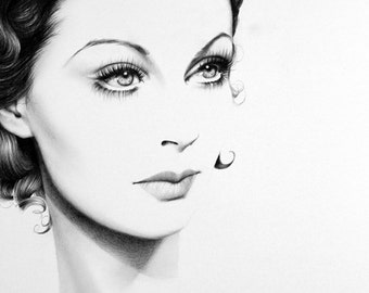 Vivien Leigh  Pencil Drawing Fine Art Portrait Print Hand Signed by Artist