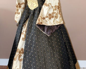 """Bust 38"""" Gold and ChocolateTudor Dress Ever After Renaissance Medieval Gown Game of Thrones Theme Wedding"""