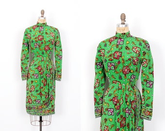 Vintage 1980s Dress / 80s Victor Costa Printed Silk Dress / Green ( small S )
