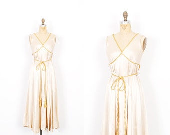 Vintage 1970s Dress / 70s Grecian Silk Party Dress / Cream and Gold ( extra small XS )