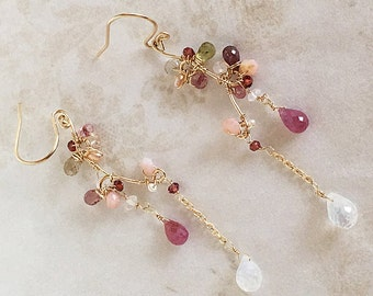 Pink Sapphire Branch Earrings - Pink Sapphire Moonstone Teardrop Earrings - Gold Tree Branch Earrings - Nature Inspired Jewelry