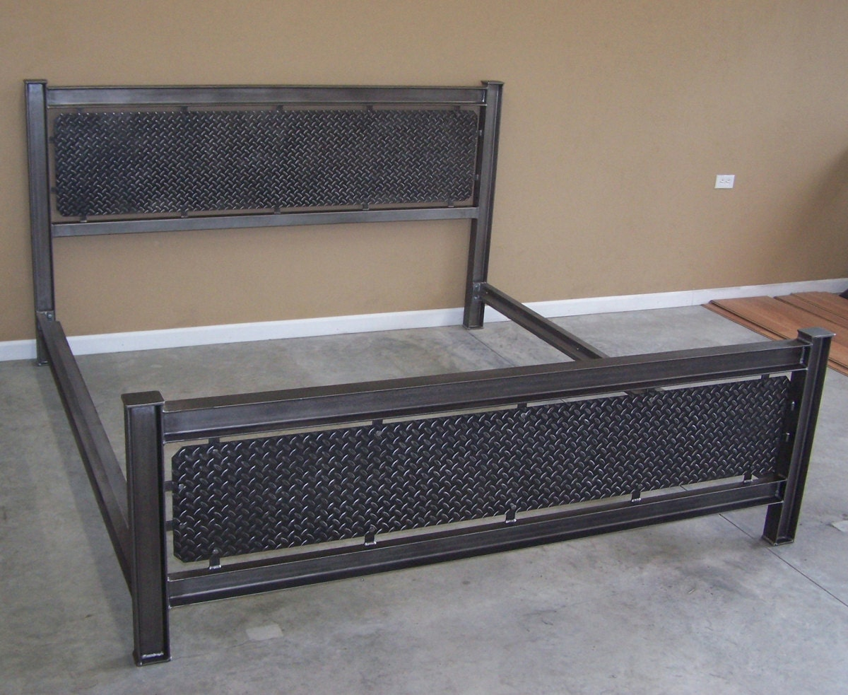 Industrial Steel Structural I Beam Bed Frame Diamondplate