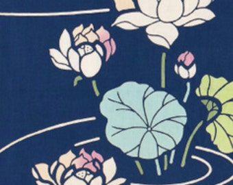 Japanese Tenugui Cotton Fabric, Lotus Flower, Floral Fabric, Hand Dyed Fabric, Botanical, Traditional Asian Art Wall, Home Decor, wf084