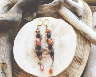 COPPER- Garnets and Sunstone with pale pink Crystal woven Bohemian Gemstone Statement Earrings