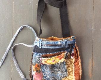 Unique Boho Bag, Crossbody Bag, Upcycled Wearable Art, Textile Art Bag, Orange Yello Pink, Denim