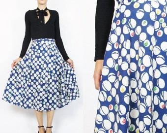 1970s Novelty Print Wrap Skirt SNAILS Cotton Wrap Skirt White Navy Blue Polka Dot Skirt Skirt Marble Knee Length Tie Waist Skirt (XS/S/M)