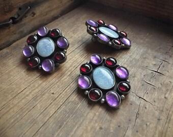 Navajo Alice Platero sterling silver purple man made opal earring pendant set Native American Indian jewelry