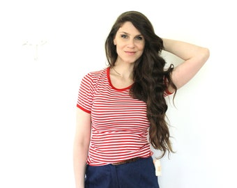 1970s T Shirt / 70s Nautical Red and White Striped Tshirt