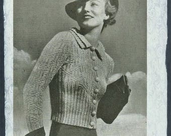 Instant DOWNLOAD Vintage Knitting Pattern Ladies Double Collar Cardigan/Jacket PDF
