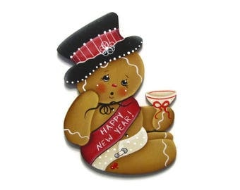 New Years Ginger Fridge Magnet or Ornament, Handpainted Wood, Hand Painted Gingerbread Refrigerator Magnet, Tole Decorative Painting