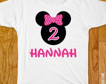 Pink Minnie Mouse Birthday Iron-On Shirt Design - Choose child or onesie size