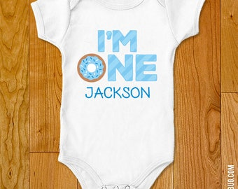 "Blue Donut Party / Doughnut Party ""I'm ONE"" Iron-On Shirt Design - Choose child or onesie size"