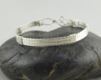 WSB-0196 Handmade .925 Sterling Silver Wire Wrapped Bangle Bracelet