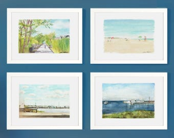Set of four framed prints - watercolor paintings - Fire Island scenes and seascapes